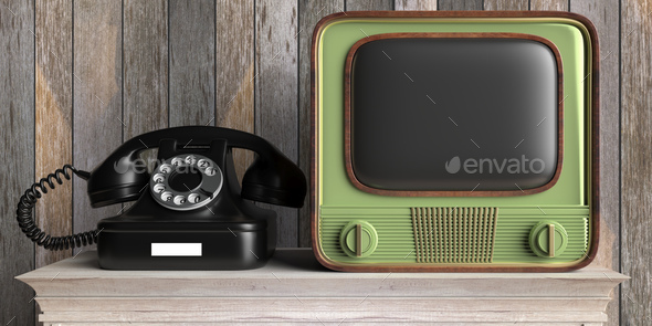 Vintage retro TV and telephone on wooden table, wood wall background. 3d illustration - Stock Photo - Images