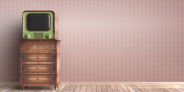 Vintage TV on a chest of drawers, house room interior background. 3d illustration - Stock Photo - Images