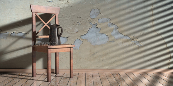 Metal jar on a classic chair, house room interior background. 3d illustration - Stock Photo - Images