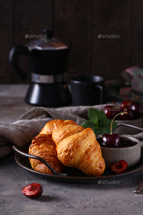 Croissants with Jam - Stock Photo - Images