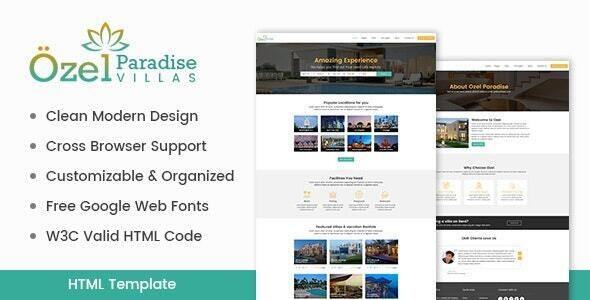 Exceptional Ozel Paradise Villas HTML Template