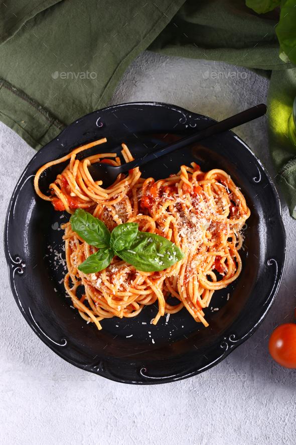 Italian Pasta With Tomato Sauce - Stock Photo - Images