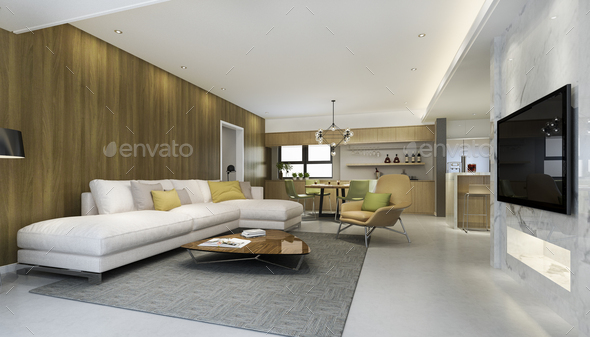 modern dining room and kitchen with living room with luxury decor - Stock Photo - Images