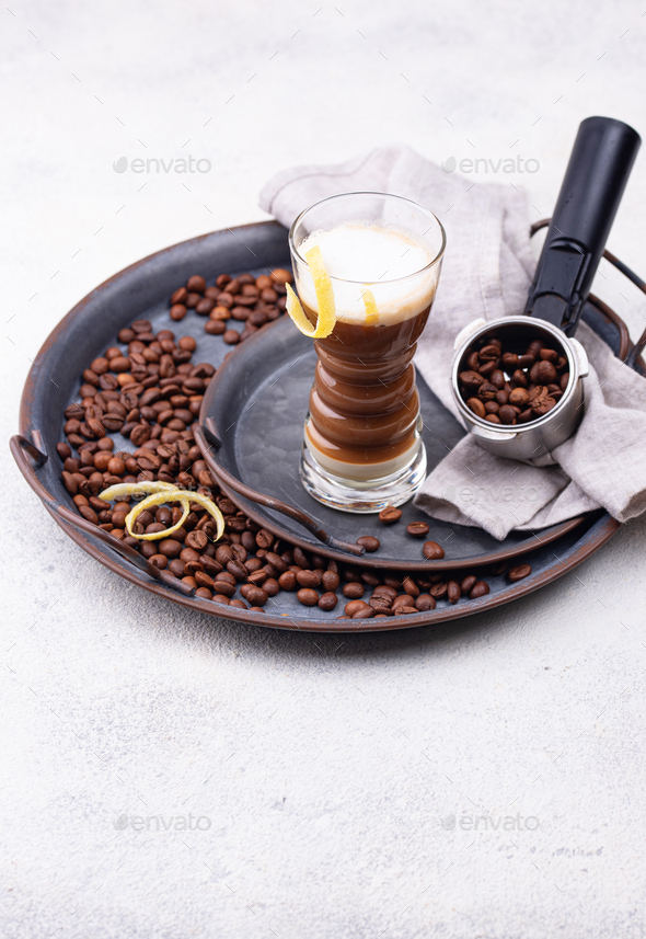Canarian laired barraquito coffee - Stock Photo - Images