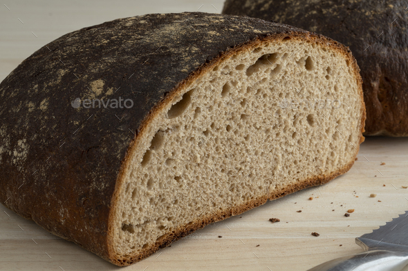 Loaf of healthy German Sourdough bread - Stock Photo - Images