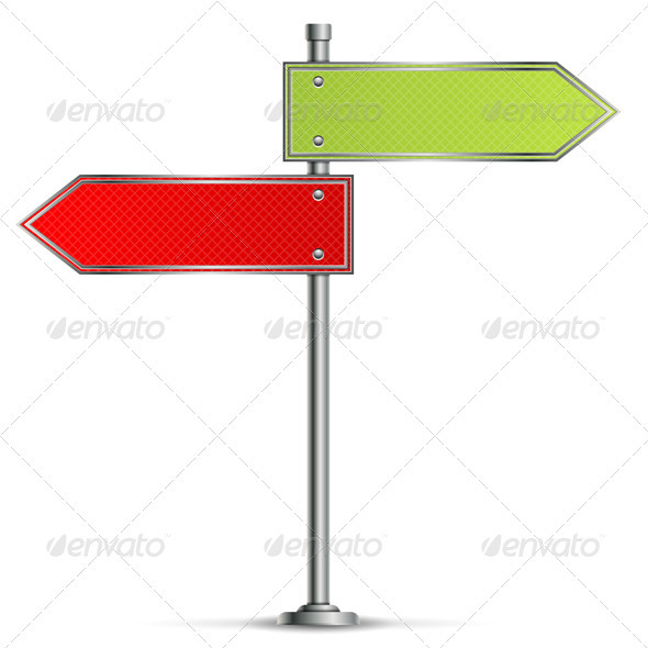 Pole with Road Signs - Travel Conceptual