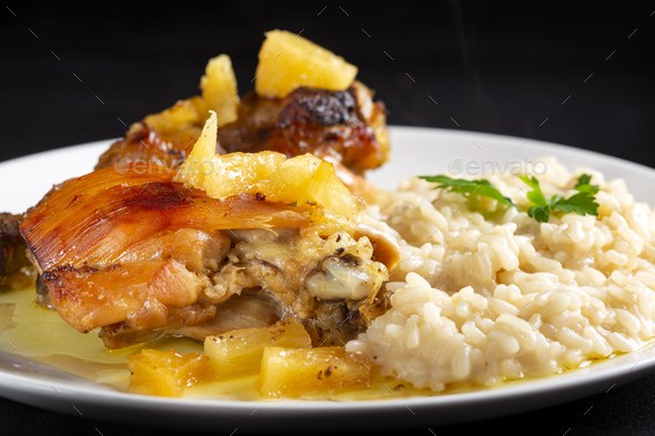 chicken meat with rice and pineapple - Stock Photo - Images