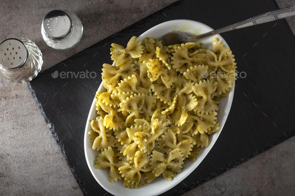 Farfalle pasta with pesto sauce - Stock Photo - Images