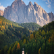 Ranui church in front of Dolomites mountain in autumn - PhotoDune Item for Sale