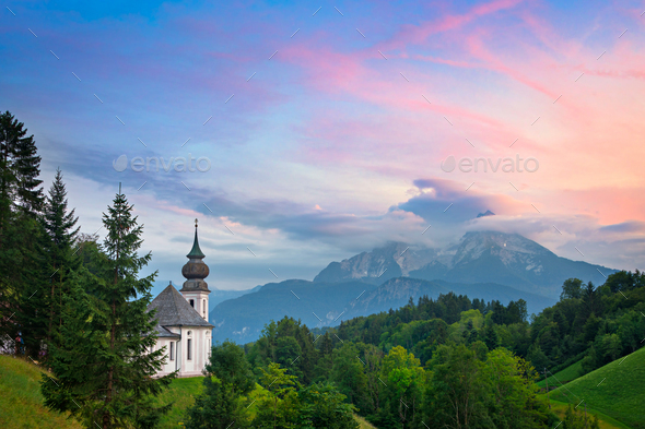Maria Gern church and Watzmann mountain in Germany at sunset - Stock Photo - Images
