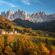 Autumn landscape with church with Dolomites mountains - PhotoDune Item for Sale