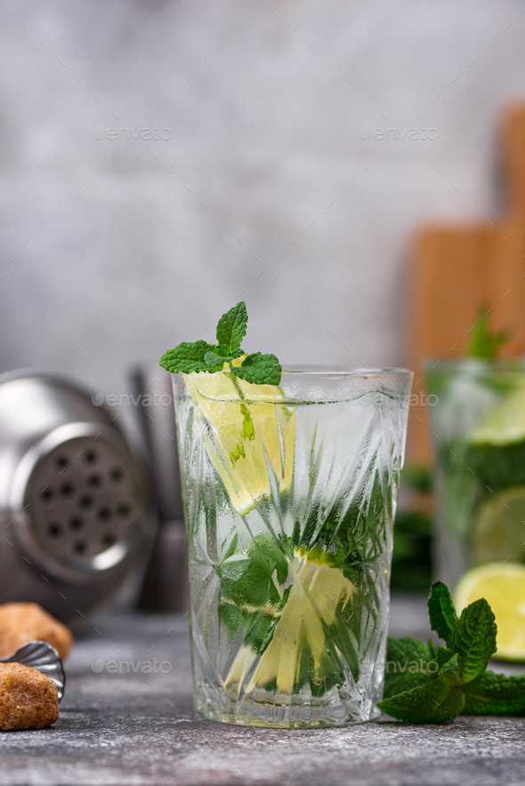 Summer cocktail with lime and mint - Stock Photo - Images