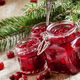 Winter cranberry sauce in glass jars with fresh cranberries, decorated fir branches - PhotoDune Item for Sale