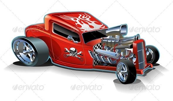 Vector Retro Cartoon Hotrod - Man-made Objects Objects
