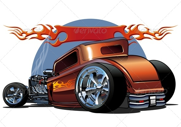 Vector Retro Cartoon Hotrod - Characters Vectors