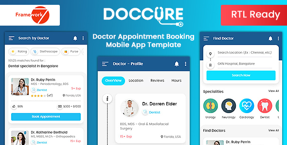 Lovely Doccure - Doctor Appointment Booking Mobile App Template (Framework7 + Bootstrap + PWA)