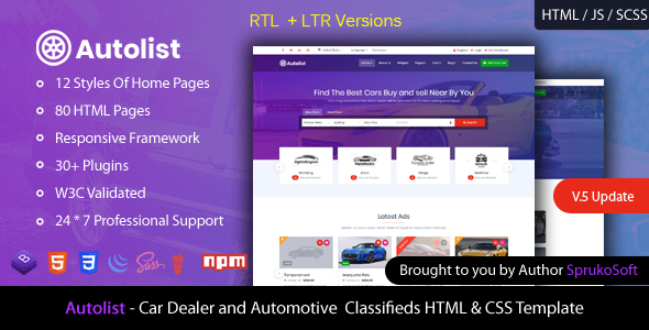 Autolist – Car Dealer and Classifieds HTML Template