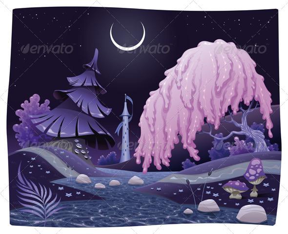 Fantasy nightly landscape on the riverside. - Landscapes Nature