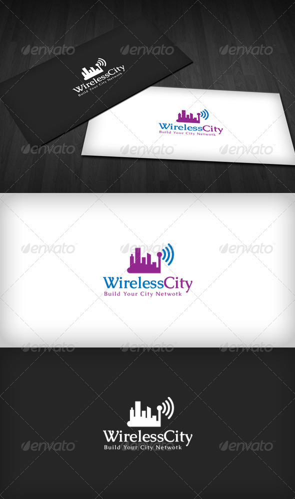 Wireless City Logo - Buildings Logo Templates