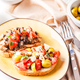 Delicious bruschettas with mushrooms, blue cheese, olives and tomatoes - PhotoDune Item for Sale