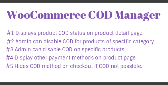 WooCommerce Cod Manager