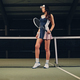 Female tennis player posing on an indoor tennis court. - PhotoDune Item for Sale