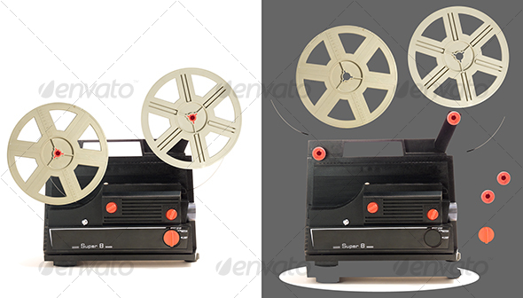 Super 8 projector parts - Technology Isolated Objects