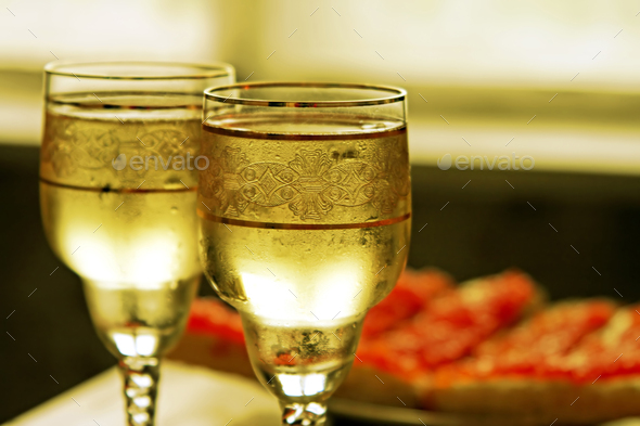 Champagne glasses and red caviar - Stock Photo - Images