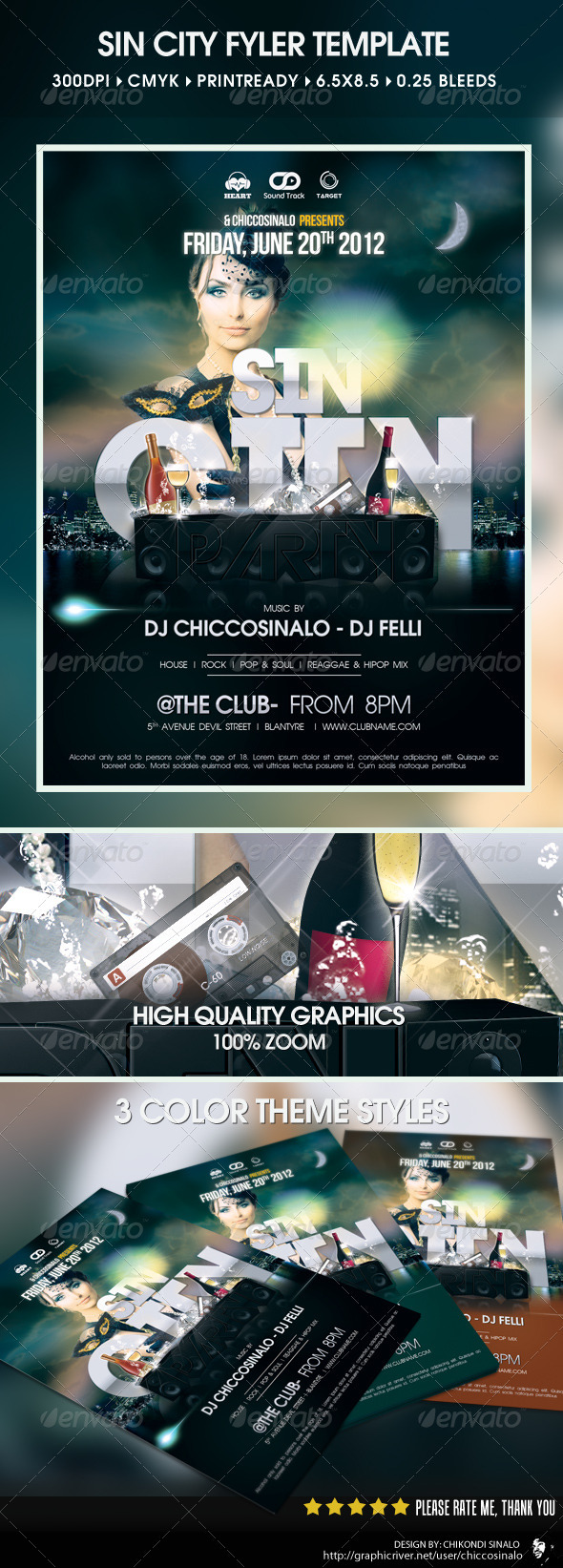 Sin City Party Flyer - Clubs & Parties Events