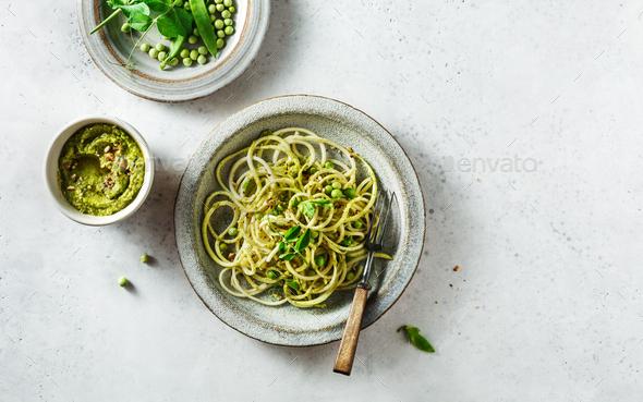 Gluten and dairy free vegan spaghetti - Stock Photo - Images