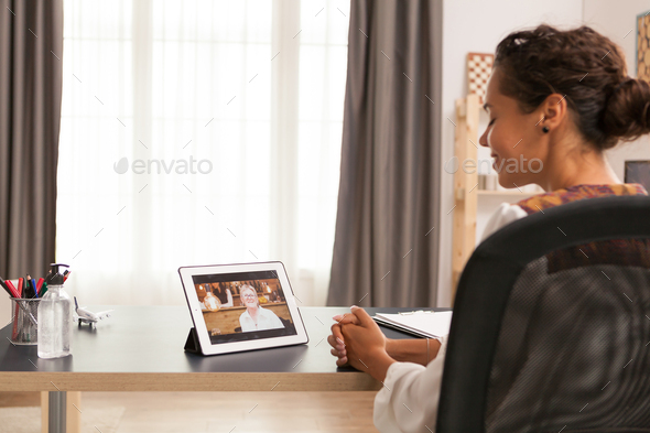 Video call with mother - Stock Photo - Images