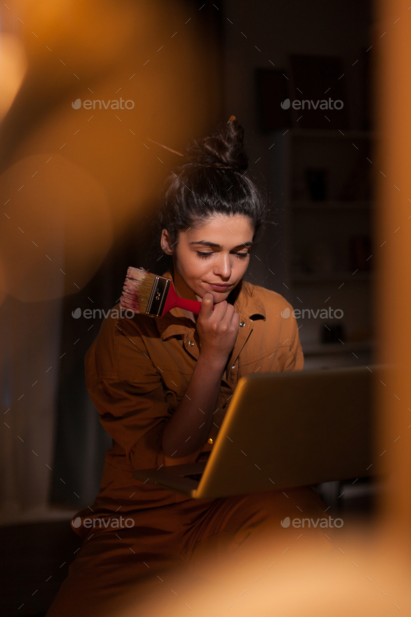 Focused young artist - Stock Photo - Images