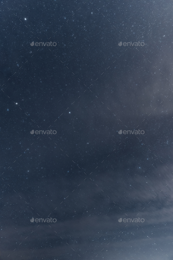 Real Night Sky Stars. Natural Starry Sky With Some Clouds Background Backdrop - Stock Photo - Images