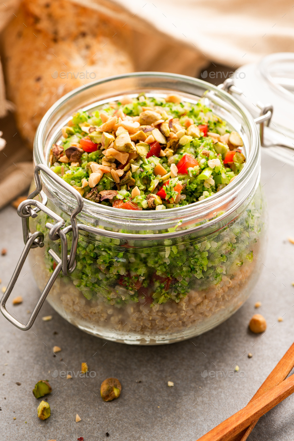 Salad with Quinoa in Jar for Take Away Lunch - Stock Photo - Images