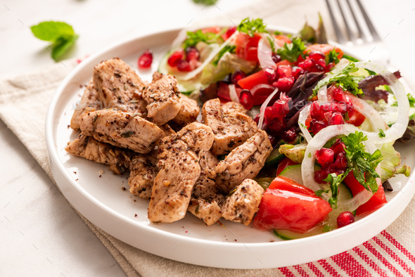 Grilled Chicken with Healthy Fresh Salad. Light Diet Lunch - Stock Photo - Images
