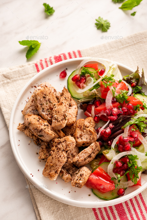 Grilled Poultry with Healthy Salad.Light Diet Lunch - Stock Photo - Images