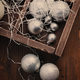 Christmas balls and cones in the wooden vintage box - PhotoDune Item for Sale