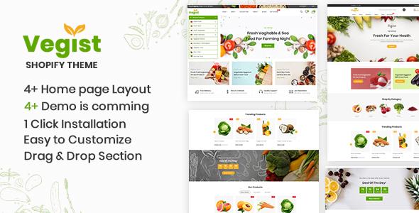 Vegist – The  Vegetables & Organic Food eCommerce Shopify Theme