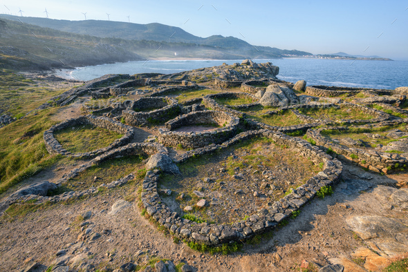 Circular structures in the Celtic settlement of Barona - Stock Photo - Images