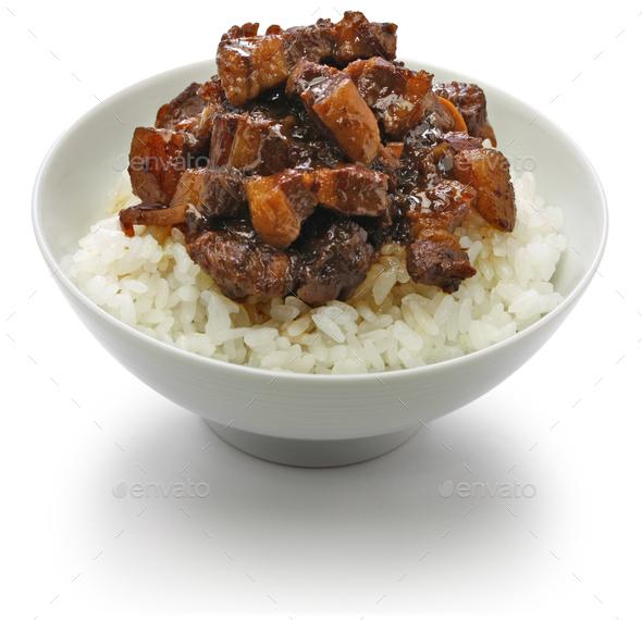 ru rou fan, taiwanese braised pork rice bowl - Stock Photo - Images