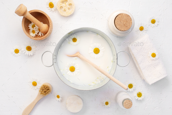 Organic Skin Care with Milk and Chamomile - Stock Photo - Images