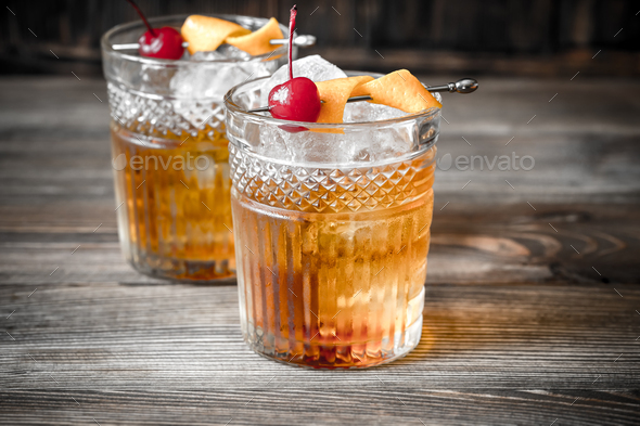 Old fashioned cocktail - Stock Photo - Images