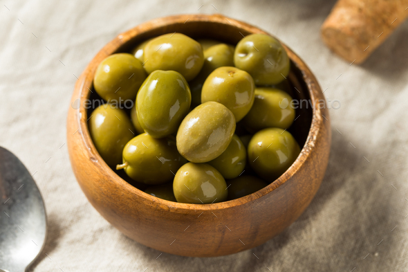 Raw Green Organic Olives - Stock Photo - Images