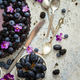 Sweet and tasty tart with fresh blueberries, blackberries and grapes, served on stone background - PhotoDune Item for Sale