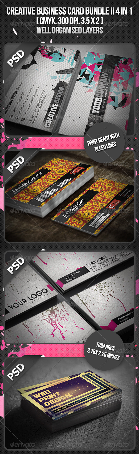 Creative Business Card Bundle II 4 in 1 - Business Cards Print Templates