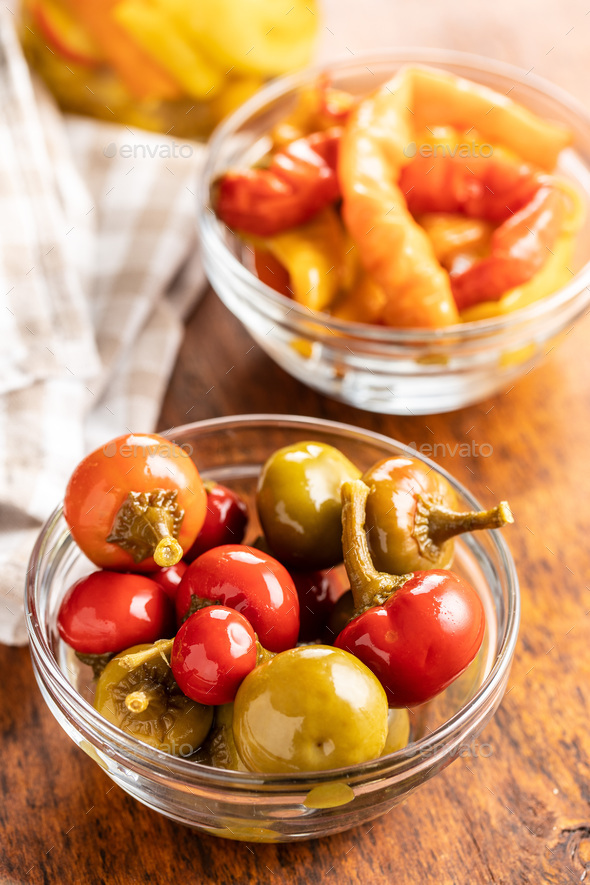 Pickled chili peppers. - Stock Photo - Images