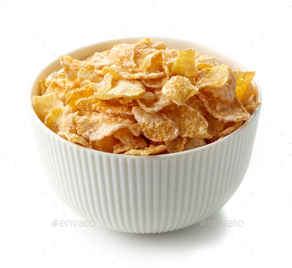 bowl of breakfast cornflakes - Stock Photo - Images