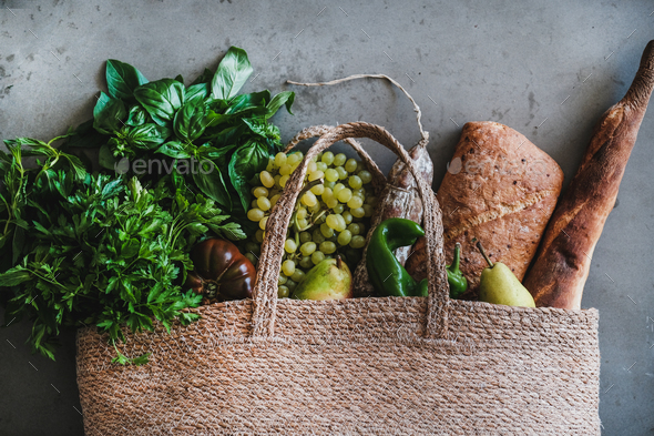Flat-lay of healthy shopping bag with fresh vegetables and fruits - Stock Photo - Images