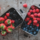 Fresh seasonal berries in metal lunchboxes over grey background - PhotoDune Item for Sale
