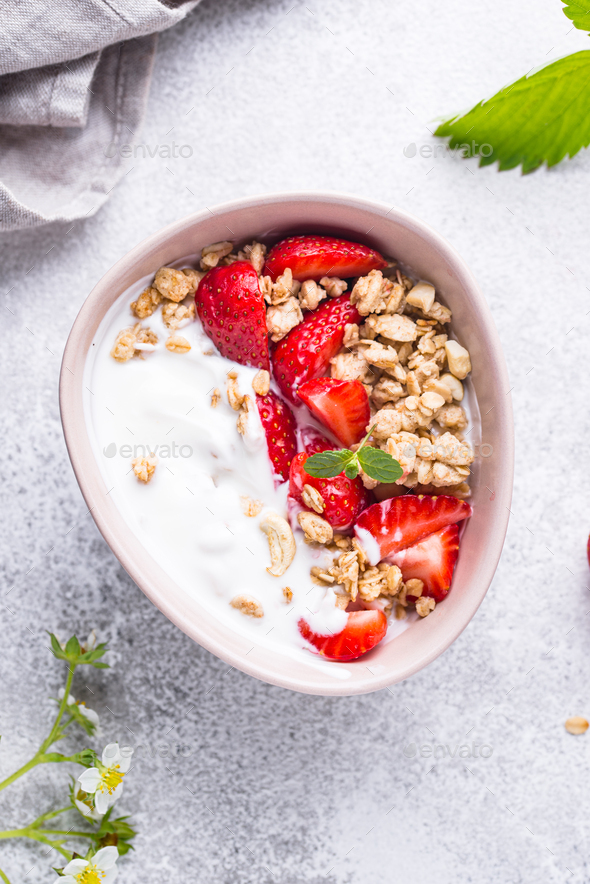 Granola with Greek yogurt and strawberry - Stock Photo - Images
